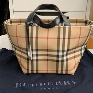 Burberry flower pot coated canvas plaid tote